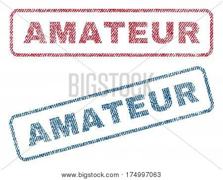 Amateur text textile seal stamp watermarks. Blue, red fabric vectorized texture. Vector caption inside rounded rectangular shape. Rubber emblem with fiber textile structure.
