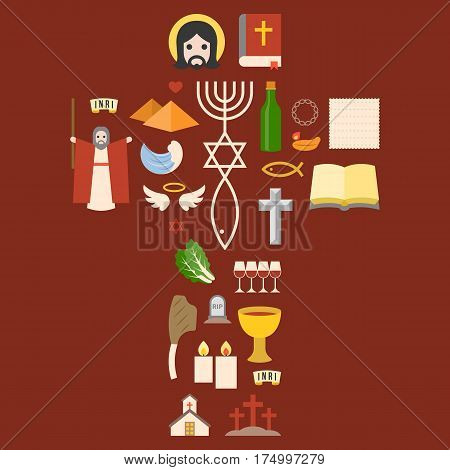 Messianic judaism sign and biblical icon from exodus, arrange as cross for passover holiday, flat design pictogram
