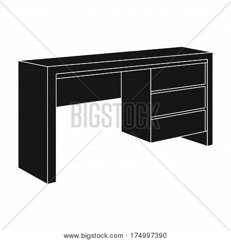 A small table for writing.Wooden table on legs with drawers.Bedroom furniture single icon in black style vector symbol stock web illustration.