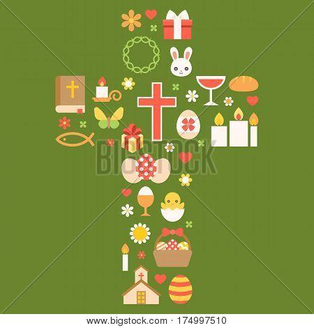 easter symbolic arrange as cross for celebrate easter, flat design