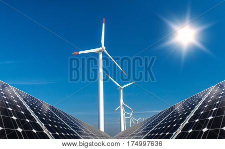 Photo Collage Of Solar Panels And Wind Turbins - Concept Of Sustainable Resources