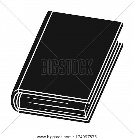 Violet book icon in black design isolated on white background. Books symbol stock vector illustration.