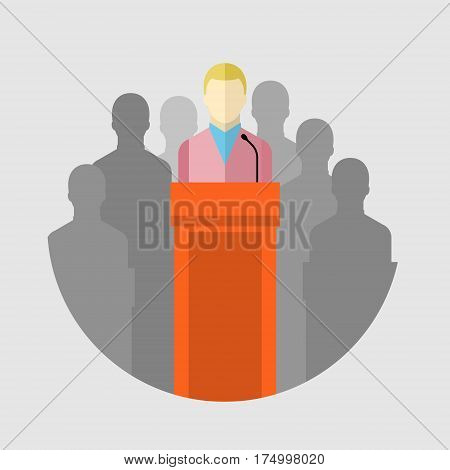 Concept of election debates or press conference. Man on the podium. Flat design, vector illustration.