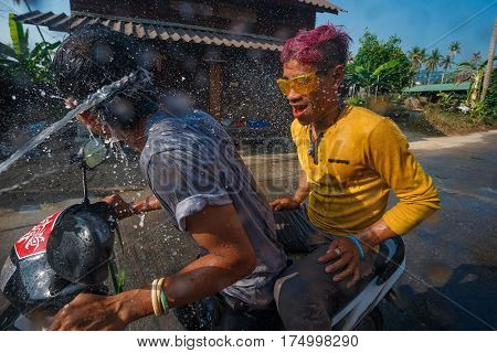 Ko Phangan - APR 16: people joins celebrations of the Thai New Year or Songkran in Ko Phangan on Apr 13, 2016