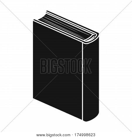 Blue standing book icon in black design isolated on white background. Books symbol stock vector illustration.