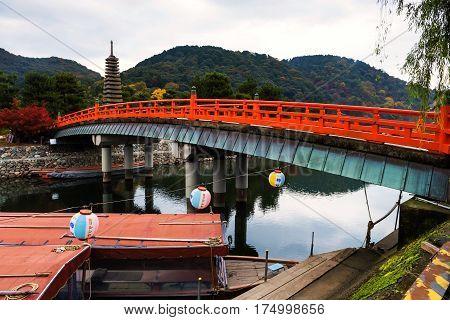 Bridge Above Uji River And Pagoda