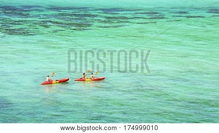 Kayaking on beautiful andaman sea at Koh Lipe Satun Thailand