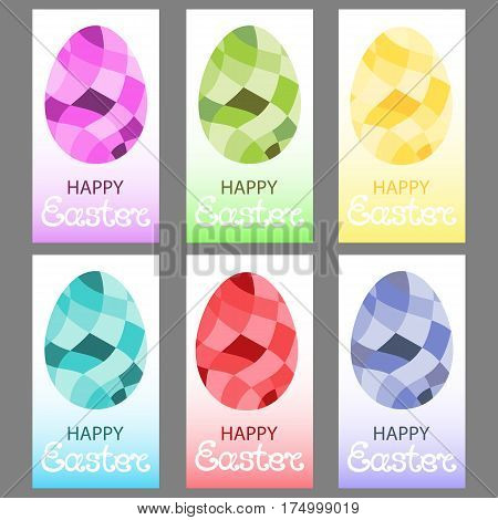 Set of multi-colored Easter eggs in a polygonal style. Design of paschal greeting cards, invitations, flyers