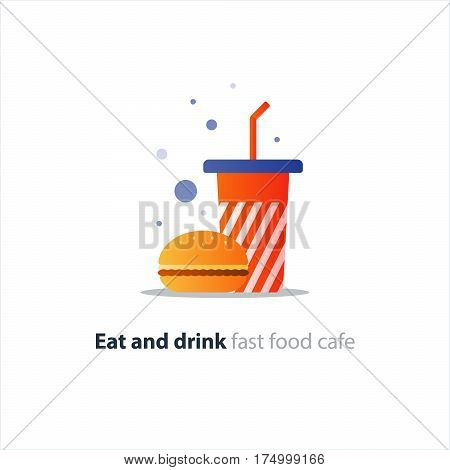 Burger and striped tumbler glass with straw, fast food order concept, vector flat design illustration