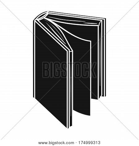 Black standing book icon in black design isolated on white background. Books symbol stock vector illustration.