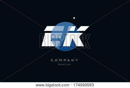 Ek E K  Blue White Circle Big Font Alphabet Company Letter Logo