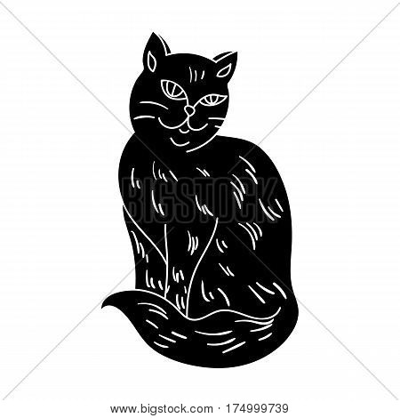 Nebelung icon in black design isolated on white background. Cat breeds symbol stock vector illustration.