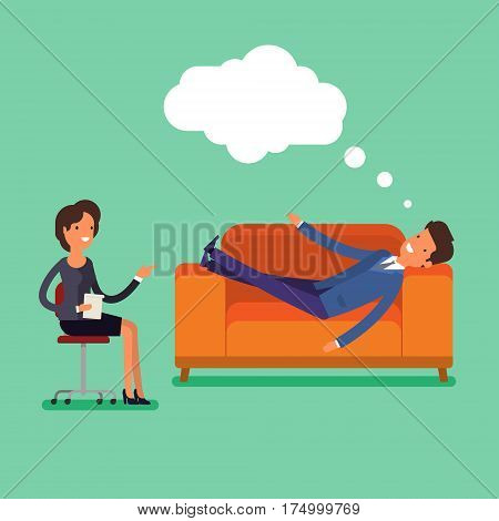 Psychological counseling concept. Psychotherapist with lying patient characters.
