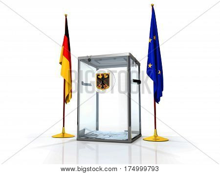 Realistic empty transparent ballot box with voting paper and flag of Germany and Europe Union, 3d illustration