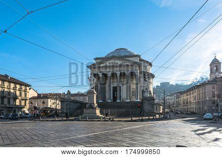 Turin,Italy,Europe - December 2, 2016 : The Church of Gran Madre di Dio in Turin