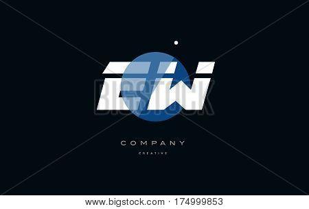 Ew E W  Blue White Circle Big Font Alphabet Company Letter Logo
