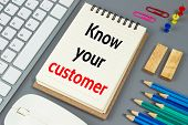 Know your customer, Text message on white paper poster