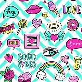 Vector seamless pattern with fashion fun patches: eyes lip star strawberry Good vibes speech bubble on stripe background. Pop art stickers patches pins badges 80s-90s style poster