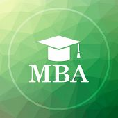 MBA icon. MBA website button on green low poly background. poster