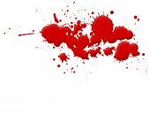 Illustration of blood splashes and stains over white background. poster