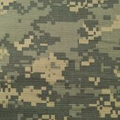 Universal camouflage pattern army combat uniform digital camo USA military ACU macro closeup detailed large rip-stop fabric texture background crumpled wrinkled foliage green yellow desert sand tan urban gray grey NYCO nylon cotton horizontal textured swa poster