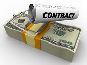 """Dangerous contract. Mousetrap from pack of American dollars with bait in form of sheet with text """"CONTRACT"""". Isolated. 3D Illustration poster"""