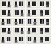 Seamless pattern of the apartment building facade. Vector background of condominium house. poster