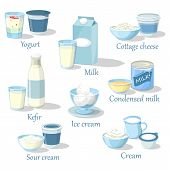 Fruit yogurt and kefir, milk product in carton pack and cottage cheese food, whipped sour cream and ice cream, condensed milk. Natural and organic healthy nutrition, farmer and grocery theme poster