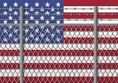 Metal fence with barbed wire on a USA flag. Separation concept borders protection. Template for march against anti-immigration policies. Social issues on refugees or illegal immigrants. poster