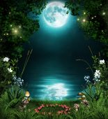 3D illustration of a fairytale forest by an enchanted pond at night in the moonlight. poster