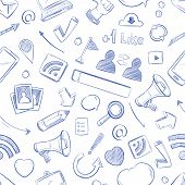 Doodle social media, movie, music, news, video, online marketing, sms vector seamless backdrop. Media social pattern with sketch elements pencil and megaphone illustration poster