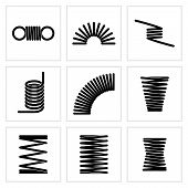Metal spiral flexible wire elastic spring vector icons. Flexible spring spiral, illustration of twist spring poster
