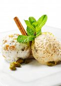 Dessert - Home-made Ice-cream with Fresh Mint and Cinnamon poster