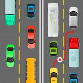 Overtaking in dense traffic flow flat vector illustration. Road rule violation example on top view diagram. Traffic offences concept. Danger of car accident. For insurance company, driving courses ad poster