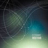 Vector illustration on the theme of cosmos, astronomy, constellation, data transmission. Structure of white curve intersecting thin lines on dark cosmic gradient mesh background with shining points. poster