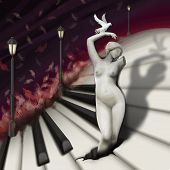 woman sculpture and bird in fantasy piano world digital painting poster