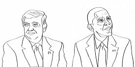 04 March, 2017: Donald Trump current US President is sitting next to previous US President Barack Obama vector drawing