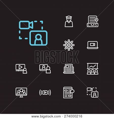 Webinar Icons Set. Education E-learning And Webinar Icons With Video Stream, Education Student And S