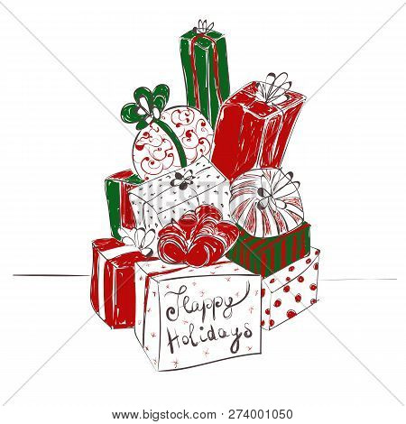 Big Pile Of Gift Boxes. Handdrawn Vector Illustration With Happy Holidays Text On White Background.