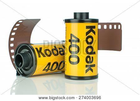 Niedersachsen, Germany December 14, 2018: Two Rolls Of Kodak Ultramax 400 35mm Camera Film On A Whit