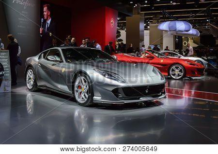 Frankfurt - Sep 2017: Ferrari 812 Superfast Sports Car Premiere At Iaa Frankfurt Motor Show