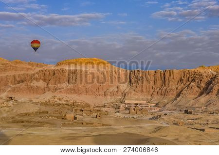 Hot Air Ballon Over The Temple Of Hatshepsut , The Deir Al-bahari Complex And  Tombs In The Queens V