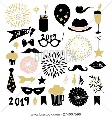 Set Of Hand Drawn New Year Or Birthday Party Graphic Elements. Fireworks, Drinks, Cupcake, Moustache