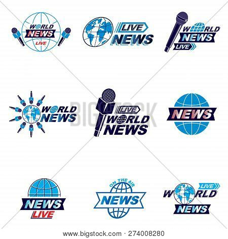 Social Mass Media Logo, Emblems And Poster Vector Templates Collection. Blue Earth, Journalistic Mic