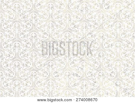 Vintage Abstract Floral Seamless Pattern. Intersecting Curved Elegant Stylized Leaves And Scrolls Fo