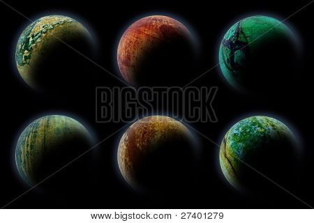 Planets In Deep Dark Space. Abstract Illustration Of Universe.