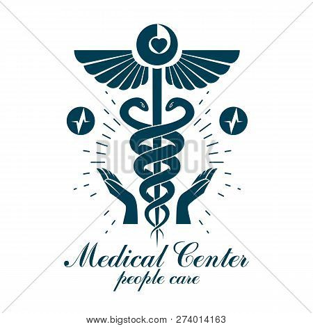 Pharmacy Caduceus Icon, Medical Logo Created With Heart Shape And Electrocardiogram Chart Symbol. Ca