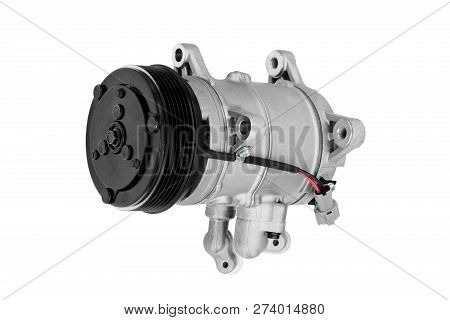 Car Air Conditioner Compressor On A White Background