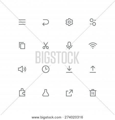 Bold Outline Icon Set - Menu, Arrow, Gear Wheel, Switch, File, Scissors, Microphone, Wi Fi, Loudspea