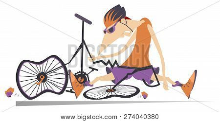 Sad Cyclist And Broken Bike Illustration. Cyclist Sitting Near A Broken Bicycle Isolated On White Il